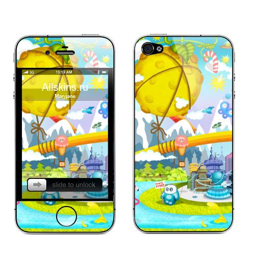 Наклейка на Телефон Apple iPhone 4S, 4 Kids pic,  купить в Москве – интернет-магазин Allskins, детские, луна, девушка, космос, любовь, монстры, солнце