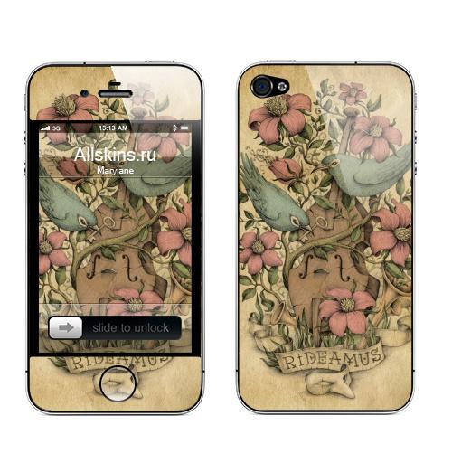 Наклейка на Телефон Apple iPhone 4S, 4 Rideamus,  купить в Москве – интернет-магазин Allskins, цветы, птицы, текстура, контрабас, женские