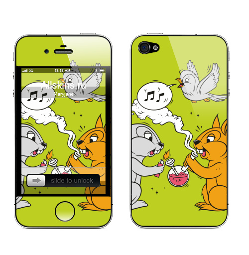 Наклейка на Телефон Apple iPhone 4S, 4 Funny friends,  купить в Москве – интернет-магазин Allskins, заяц, белка, дружба, дым, кальян, ноты, птицы