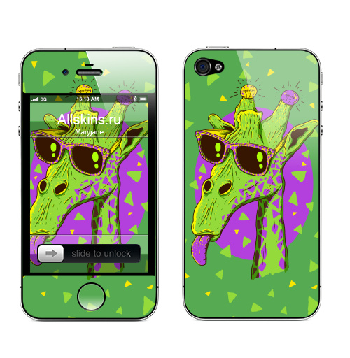 Наклейка на Телефон Apple iPhone 4S, 4 Жирафео,  купить в Москве – интернет-магазин Allskins, зеленый, Эцилопп, хипстер, очки, лето, лампа, животные, фиолетовый