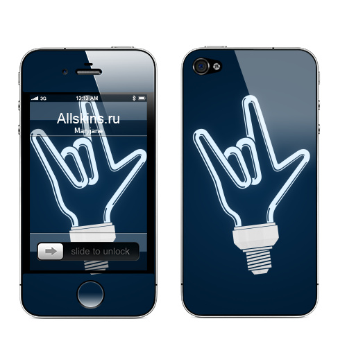 Наклейка на Телефон Apple iPhone 4S, 4 Рок-лампочка,  купить в Москве – интернет-магазин Allskins, rock, ламп, черно-белое, лампа, овцы, музыка