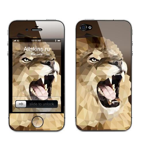 Наклейка на Телефон Apple iPhone 4S, 4 Лев с треугольником,  купить в Москве – интернет-магазин Allskins, оригами, геометрия, лев, треугольник, монстры, коричневый
