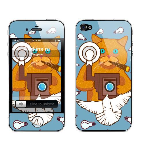 Наклейка на Телефон Apple iPhone 4S, 4 Котэ Фотограф ,  купить в Москве – интернет-магазин Allskins, фотоаппарат, кошка, ретро