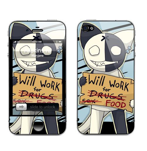 Наклейка на Телефон Apple iPhone 4S, 4 Will work for...,  купить в Москве – интернет-магазин Allskins, english, работа, кошка, надписи
