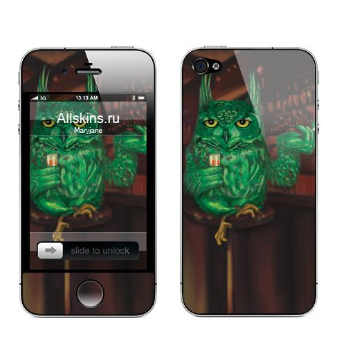 Наклейка на Телефон Apple iPhone 4S, 4 Barfly,  купить в Москве – интернет-магазин Allskins, алкоголь, зеленый, персонажи, птицы, сова, бокал