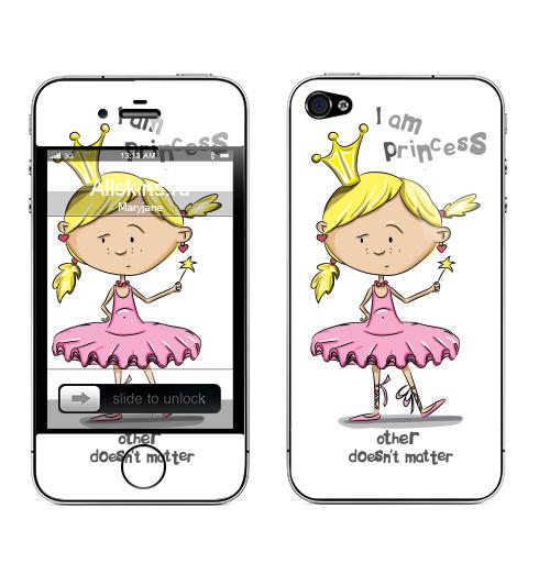 Наклейка на Телефон Apple iPhone 4S, 4 I'm princess,  купить в Москве – интернет-магазин Allskins, english, 8 марта, волнует, детские, принцесса, надписи