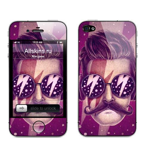 Наклейка на Телефон Apple iPhone 4S, 4 Dude,  купить в Москве – интернет-магазин Allskins, продажи, rock, хипстер, хулиган, усы, очки, молния, музыка