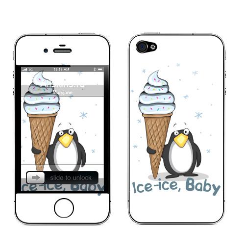 Наклейка на Телефон Apple iPhone 4S, 4 Ice-ice, baby,  купить в Москве – интернет-магазин Allskins, новый год, зима, лёд, мороженое, птицы, рождение, детские
