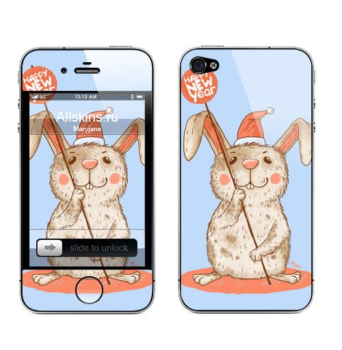 Наклейка на Телефон Apple iPhone 4S, 4 Happy NEW year,  купить в Москве – интернет-магазин Allskins, новый год, улыбка, животные, пикник, заяц