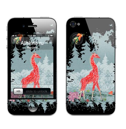 Наклейка на Телефон Apple iPhone 4S, 4 Жираф-мухомор в зимнем лесу,  купить в Москве – интернет-магазин Allskins, детские, животные, красный, лес, ночь, природа, сказки, грибы, прикольные_рисунки, милые животные, жираф, серый, новогоднеенастроение, снег