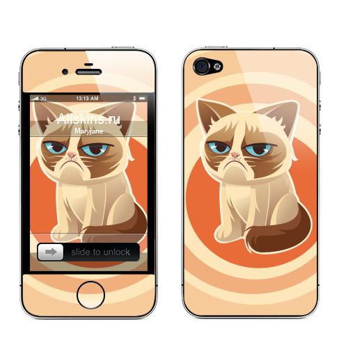 Наклейка на Телефон Apple iPhone 4S, 4 Сурове, грустне, котячне,  купить в Москве – интернет-магазин Allskins, любовь, кошка, персонажи, женские
