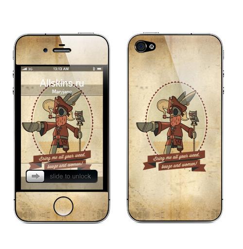 Наклейка на Телефон Apple iPhone 4S, 4 Bring me all your weed!,  купить в Москве – интернет-магазин Allskins, мариванна, мужик, капитан, военные, сова, морская, пират, заяц, надписи