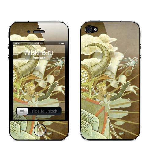 Наклейка на Телефон Apple iPhone 4S, 4 По следам монти пайтона,  купить в Москве – интернет-магазин Allskins, заяц, классика, персонажи, рыцарь, ласточки