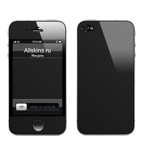 Наклейка на Телефон Apple iPhone 4S, 4 Наклейка под карбон,  купить в Москве – интернет-магазин Allskins, полностьючерный, текстура, паттерн