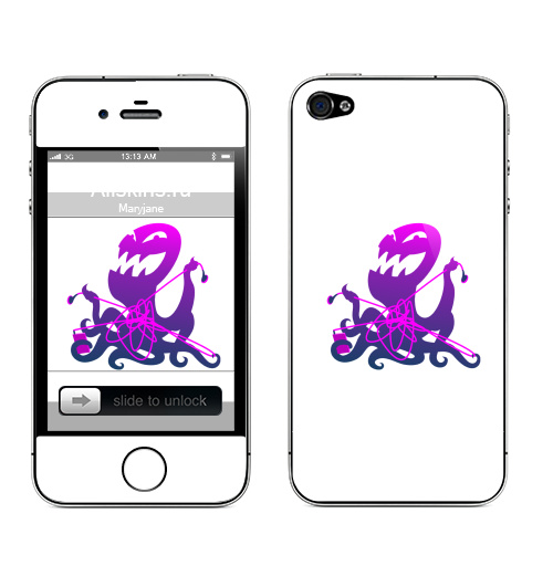 наклейка на телефон Apple Iphone 4s 4 запутанные наушники купить в