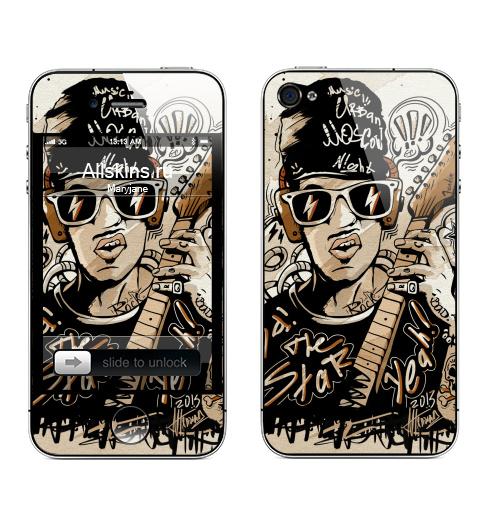 Наклейка на Телефон Apple iPhone 4S, 4 Rock Man,  купить в Москве – интернет-магазин Allskins, музыка, гитара, шапка, музыкант, rock