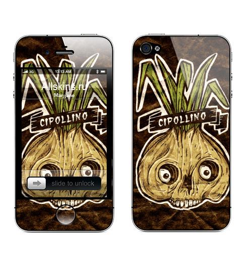 Наклейка на Телефон Apple iPhone 4S, 4 Cipollino,  купить в Москве – интернет-магазин Allskins, зеленый, череп, луковица, Чиполлино, лук