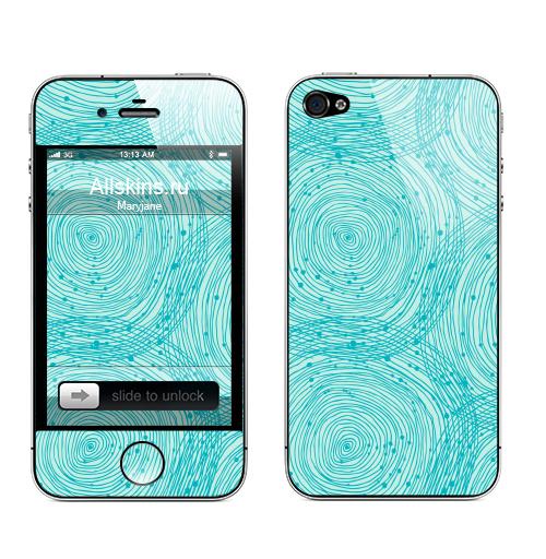 Наклейка на Телефон Apple iPhone 4S, 4 Бирюзовый абстрактный орнамент ,  купить в Москве – интернет-магазин Allskins, голубой, круги, декоративное, спираль, паттерн, геометрия, абстрактные
