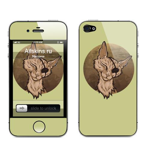 Наклейка на Телефон Apple iPhone 4S, 4 Кот пират,  купить в Москве – интернет-магазин Allskins, пират, кошка, морская, ухо, бежевый, повзяка, серьга, коричневый