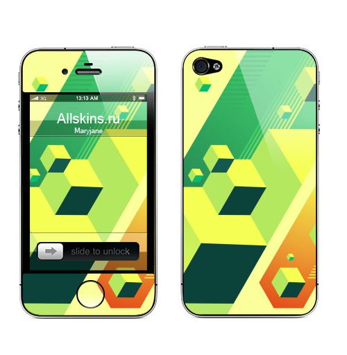 Наклейка на Телефон Apple iPhone 4S, 4 Atlantis ,  купить в Москве – интернет-магазин Allskins, абстракция, графика, вода, город, куб, легенда, атлантида, композиция