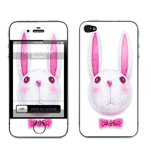 Наклейка на Телефон Apple iPhone 4S, 4 Зая с бабочкой,  купить в Москве – интернет-магазин Allskins, компьютер, заяц, бабочки, розовый, хипстер, пуговицы