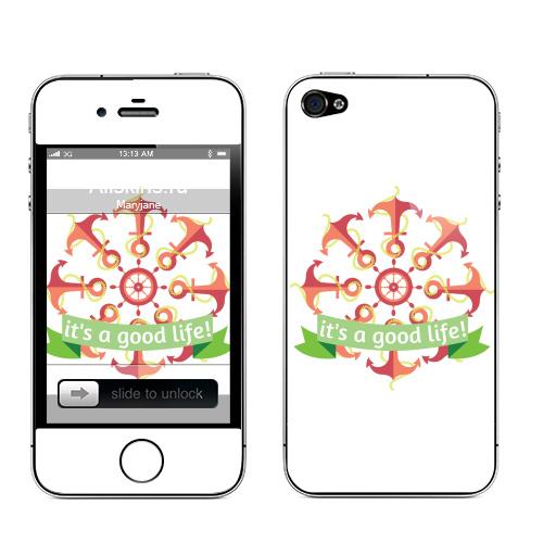 Наклейка на Телефон Apple iPhone 4S, 4 Якори и хорошая жизнь! :) ,  купить в Москве – интернет-магазин Allskins, english, канат, штурвал, якорь, красный, зеленый, позитив, жизнь, надписи