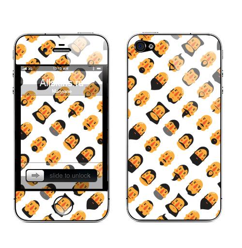 Наклейка на Телефон Apple iPhone 4S, 4 БОРОДА И УСЫ,  купить в Москве – интернет-магазин Allskins, борода, популярно, приятно, стрижка, интересно, стильно, усы, тепло, волосы, прикол