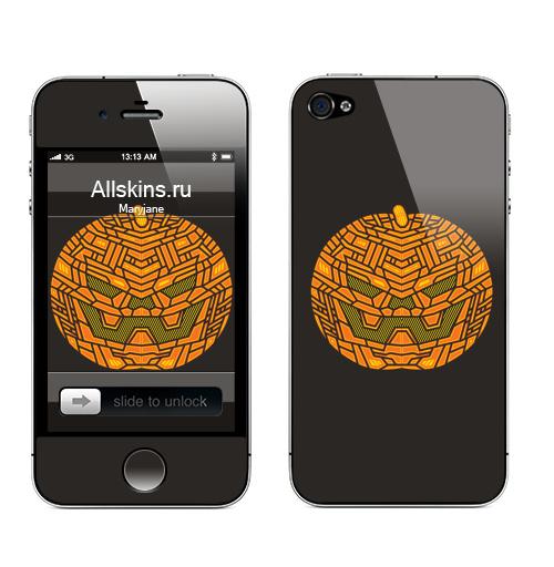 Наклейка на Телефон Apple iPhone 4S, 4 Тыковка,  купить в Москве – интернет-магазин Allskins, геометрия, оранжевый, хэллоуин, тыква