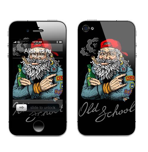 Наклейка на Телефон Apple iPhone 4S, 4 Old School,  купить в Москве – интернет-магазин Allskins, english, надписи, волосы, косяк, школа, 80-е, металл, старая, олдскулл