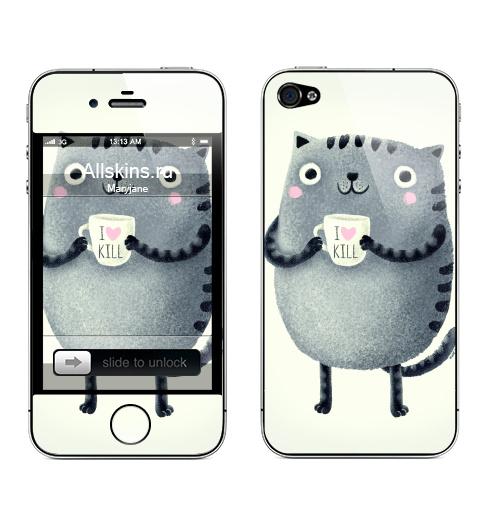 Наклейка на Телефон Apple iPhone 4S, 4 Кот I♥kill,  купить в Москве – интернет-магазин Allskins, розовый, новый год, любовь, кошка, убийство, уют, чай и кофе, серый, детские