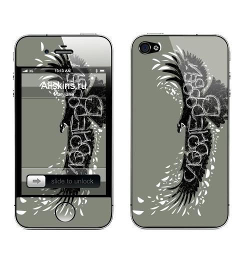 Наклейка на Телефон Apple iPhone 4S, 4 Слово не воробей,  купить в Москве – интернет-магазин Allskins, птицы, полёт, перья, орел, клюв, надписи