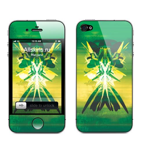 Наклейка на Телефон Apple iPhone 4S, 4 Oct,  купить в Москве – интернет-магазин Allskins, абстрактные, зеленый