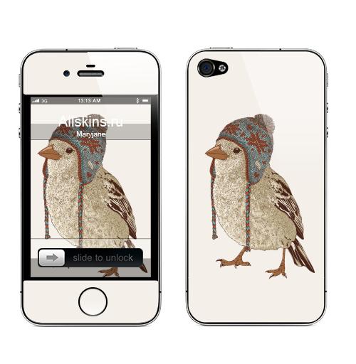Наклейка на Телефон Apple iPhone 4S, 4 Птица в шапке,  купить в Москве – интернет-магазин Allskins, 300 Лучших работ, пипстер, шапка, птицы, зима, новый год, коричневый, крутые животные