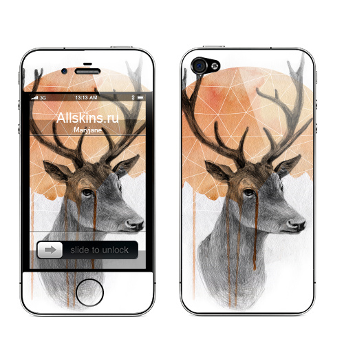 Наклейка на Телефон Apple iPhone 4S, 4 Sadness Deer,  купить в Москве – интернет-магазин Allskins, круг, животные, олень, акварель
