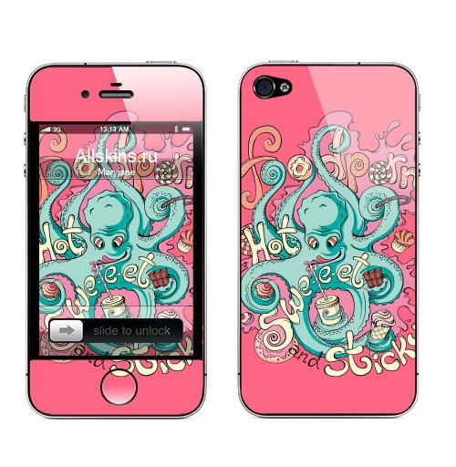 Наклейка на Телефон Apple iPhone 4S, 4 Фудпорн,  купить в Москве – интернет-магазин Allskins, монстры, еда, осьминог, персонажи, розовый, сладости, фастфуд