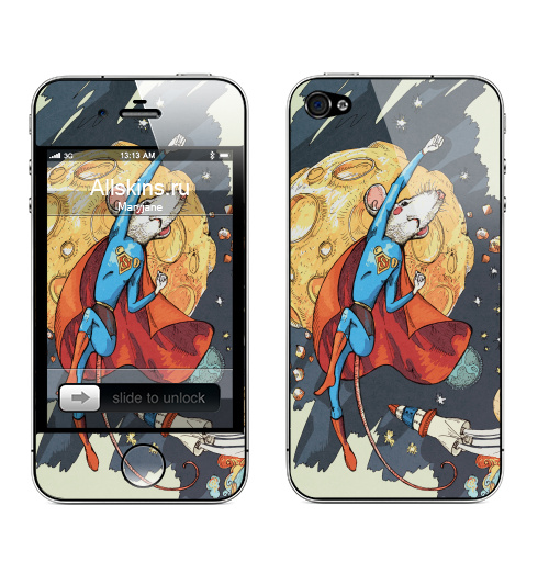 Наклейка на Телефон Apple iPhone 4S, 4 СуперМышь,  купить в Москве – интернет-магазин Allskins, летучая мышь, супермен, комиксы, космос, животные, мышь