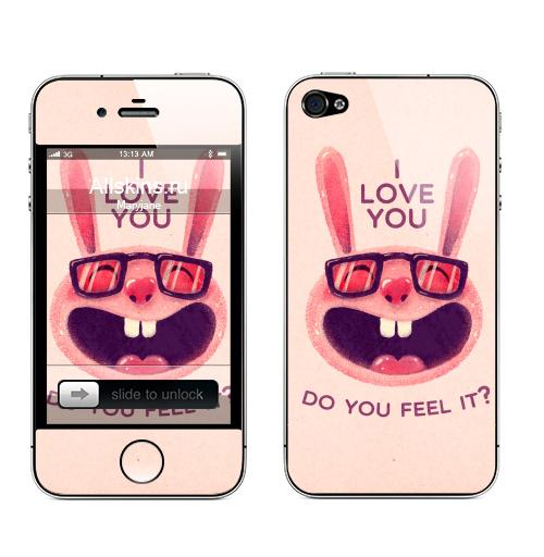Наклейка на Телефон Apple iPhone 4S, 4 Влюбленный зая,  купить в Москве – интернет-магазин Allskins, заяц, животные, любовь, улыбка, сердце, хипстер, для влюбленных