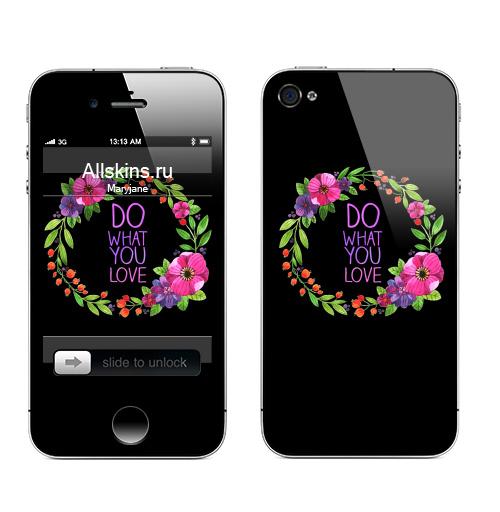 Наклейка на Телефон Apple iPhone 4S, 4 Делай то что любишь,  купить в Москве – интернет-магазин Allskins, цветы, весна, любовь, венок