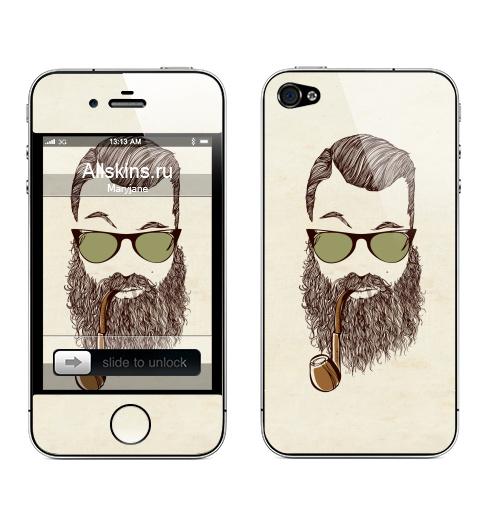 Наклейка на Телефон Apple iPhone 4S, 4 Верьте мне, у меня есть борода,  купить в Москве – интернет-магазин Allskins, борода, мужские, капитан, хипстер, трубка, очки, волосы, человек, люди