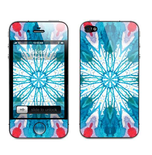 Наклейка на Телефон Apple iPhone 4S, 4 Акварельный цветок,  купить в Москве – интернет-магазин Allskins, акварель, цветы, голубой, абстрактные