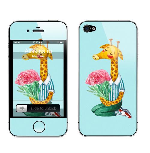 Наклейка на Телефон Apple iPhone 4S, 4 Жираф с букетом цветов ,  купить в Москве – интернет-магазин Allskins, желтый, полоски, цветы, животные, зеленый