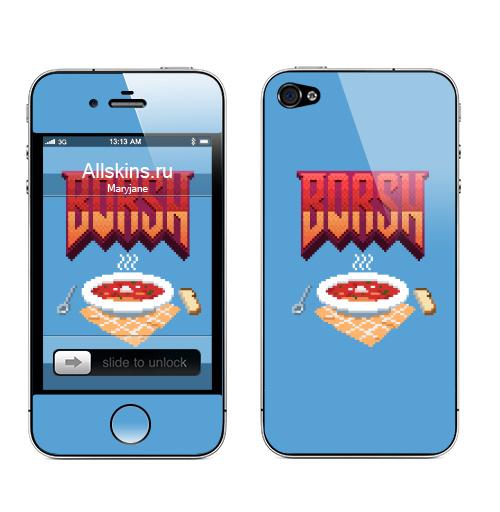 Наклейка на Телефон Apple iPhone 4S, 4 Борщ,  купить в Москве – интернет-магазин Allskins, компьютер, шутер, стрелялка, еда, борщ