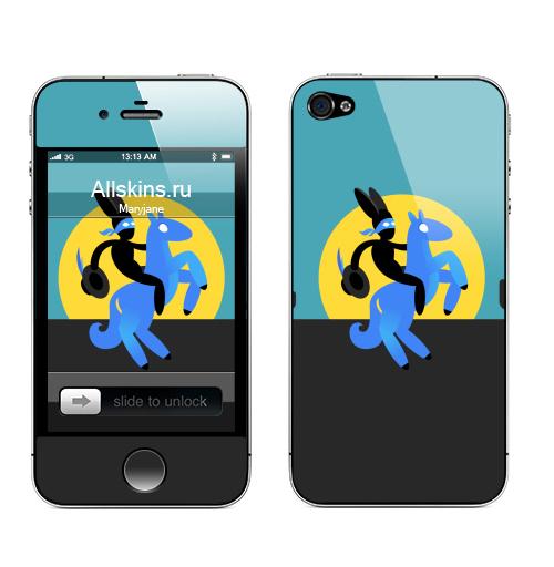 Наклейка на Телефон Apple iPhone 4S, 4 Синийконь,  купить в Москве – интернет-магазин Allskins, черный, зорро, синий, лошадь, заяц