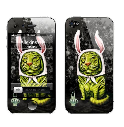 Наклейка на Телефон Apple iPhone 4S, 4 Заинька,  купить в Москве – интернет-магазин Allskins, тигры, заяц, новый год, утренник