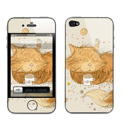 Наклейка на Телефон Apple iPhone 4S, 4 Мурр...,  купить в Москве – интернет-магазин Allskins, кошка, коффе, шоколад, зефирки, зеленый, рыжий, зима, животные