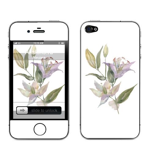 Наклейка на Телефон Apple iPhone 4S, 4 Воздушные лилии,  купить в Москве – интернет-магазин Allskins, цветы, 8 марта, лилии, акварель, весна, винтаж