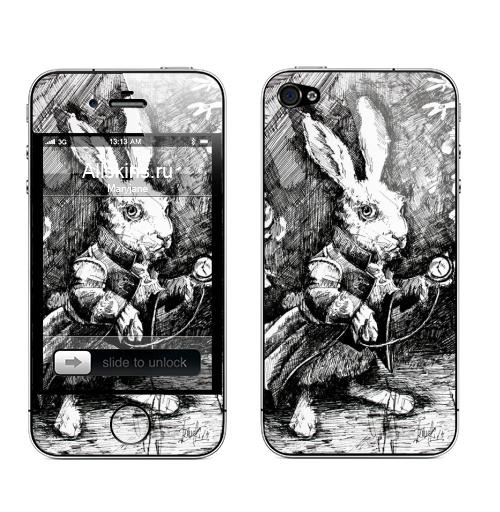 Наклейка на Телефон Apple iPhone 4S, 4 Заяц из алисы в стране чудес,  купить в Москве – интернет-магазин Allskins, иллюстация, заяц, животные, Подарок, графика