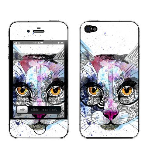 Наклейка на Телефон Apple iPhone 4S, 4 Кошка графика,  купить в Москве – интернет-магазин Allskins, кошка, животные, графика, персонажи, акварель