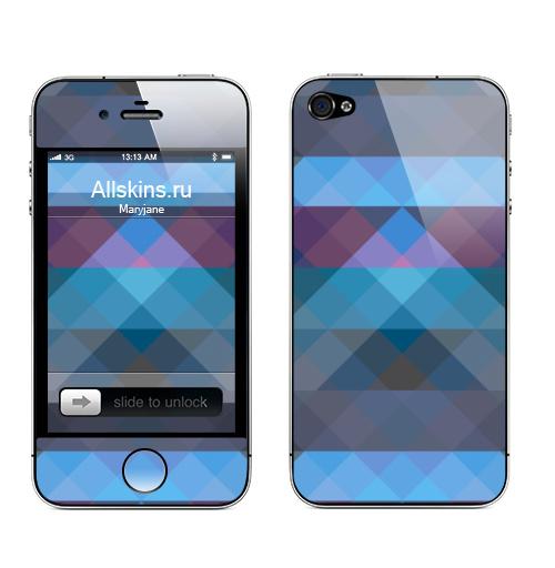 Наклейка на Телефон Apple iPhone 4S, 4 Геометрический паттерн,  купить в Москве – интернет-магазин Allskins, паттерн, геометрия, синий, треугольники