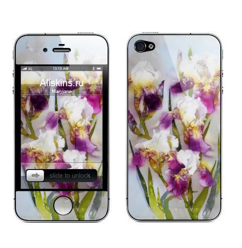 Наклейка на Телефон Apple iPhone 4S, 4 Нежные ирисы,  купить в Москве – интернет-магазин Allskins, для_влюбленных, красота, цветы, природа, акварель, флора, ирисы, букет, весна